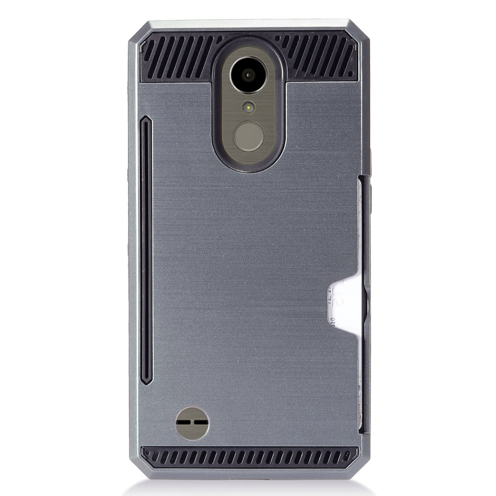 LG K10 (2017) Case, Super Slim Brushed Metallic Hybrid Hard Cover on TPU w/ Card Slots [Blueish Gray] with Travel Wallet Phone Stand
