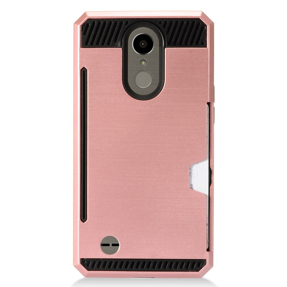 LG K10 (2017) Case, Super Slim Brushed Metallic Hybrid Hard Cover on TPU w/ Card Slots [Rose Gold] with Travel Wallet Phone Stand