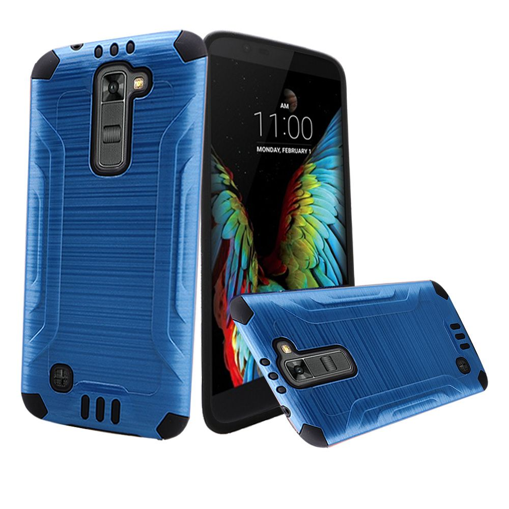 LG K10 Case, Slim Armor Brushed Metal Design Hybrid Hard Case on TPU [Dark Blue/ Black]