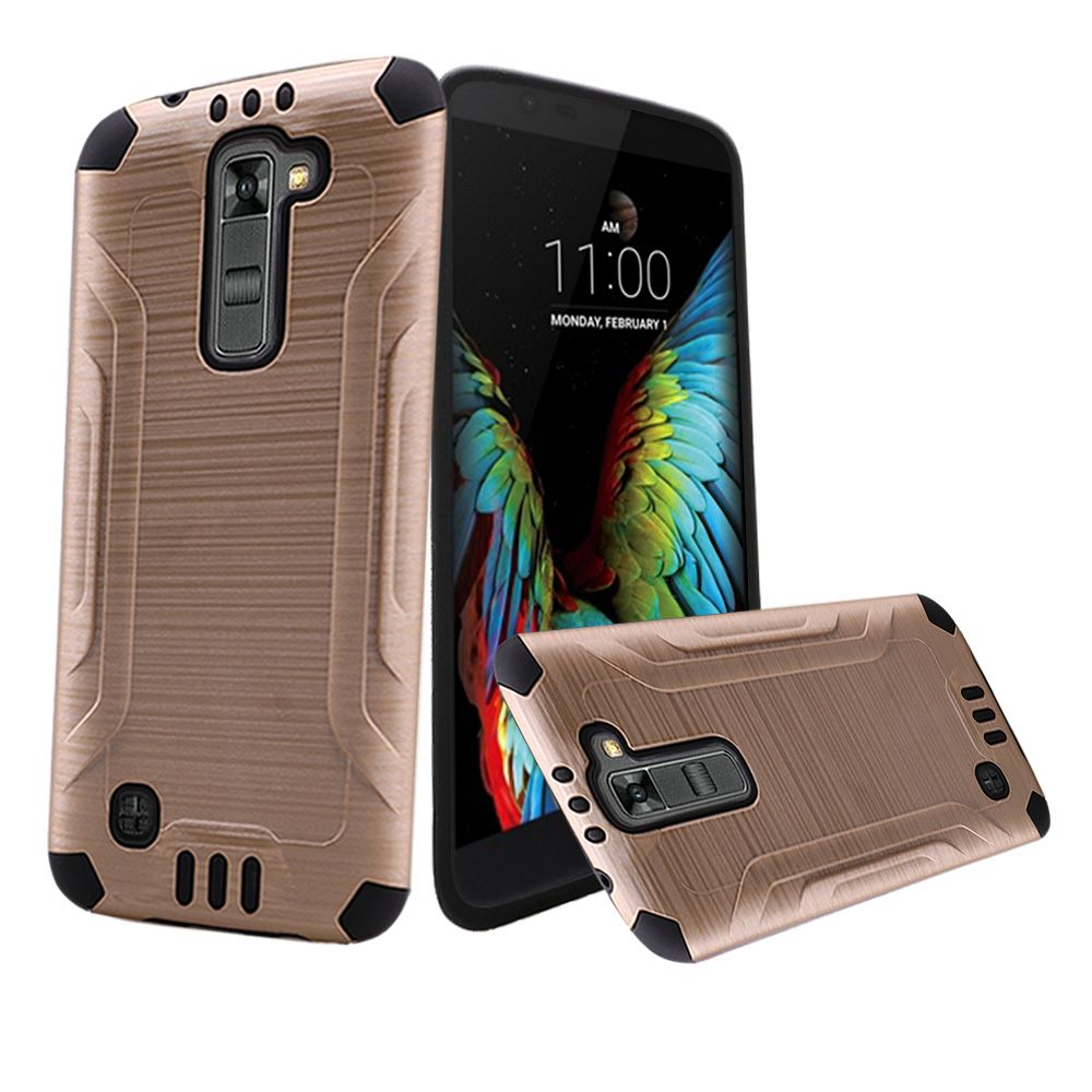 LG K10 Case, Slim Armor Brushed Metal Design Hybrid Hard Case on TPU [Gold/ Black]