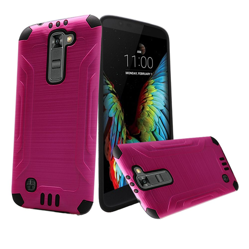 LG K10 Case, Slim Armor Brushed Metal Design Hybrid Hard Case on TPU [Hot Pink/ Black]