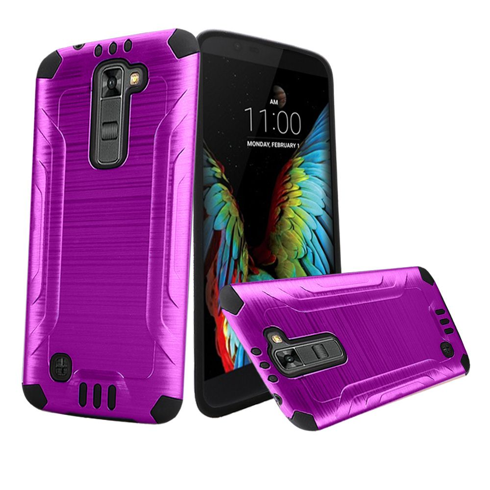 LG K10 Case, Slim Armor Brushed Metal Design Hybrid Hard Case on TPU [Purple/ Black]
