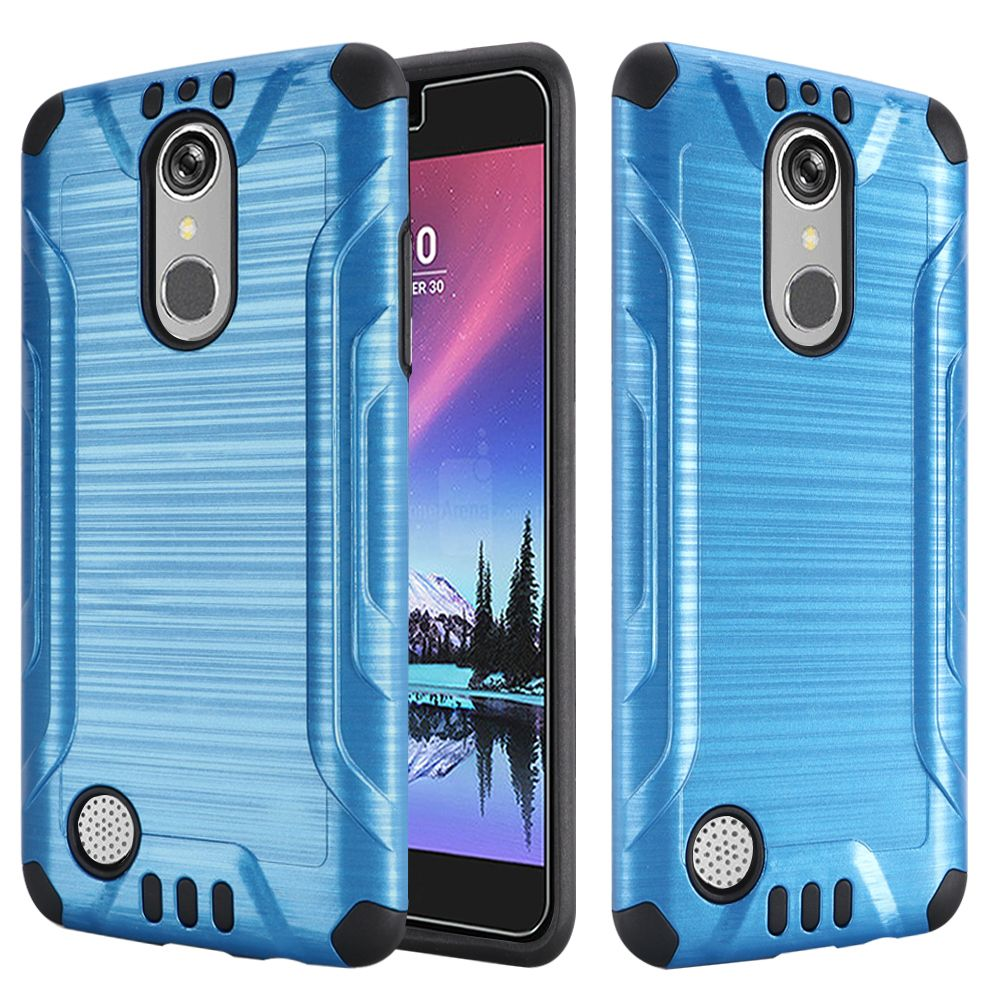 LG K20 Plus/ LG K20 V Case, Slim Armor Brushed Metal Design Hybrid Hard Case on TPU [Blue/ Black] with Travel Wallet Phone Stand