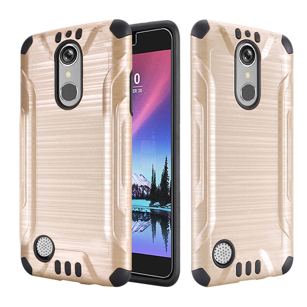 LG K20 Plus/ LG K20 V Case, Slim Armor Brushed Metal Design Hybrid Hard Case on TPU [Gold/ Black] with Travel Wallet Phone Stand