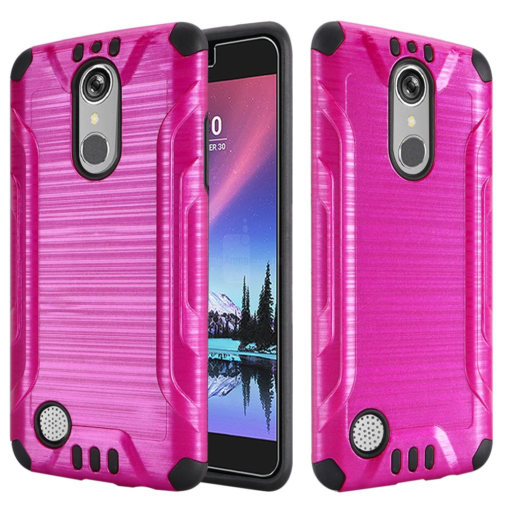LG K20 Plus/ LG K20 V Case, Slim Armor Brushed Metal Design Hybrid Hard Case on TPU [Hot Pink/ Black] with Travel Wallet Phone Stand