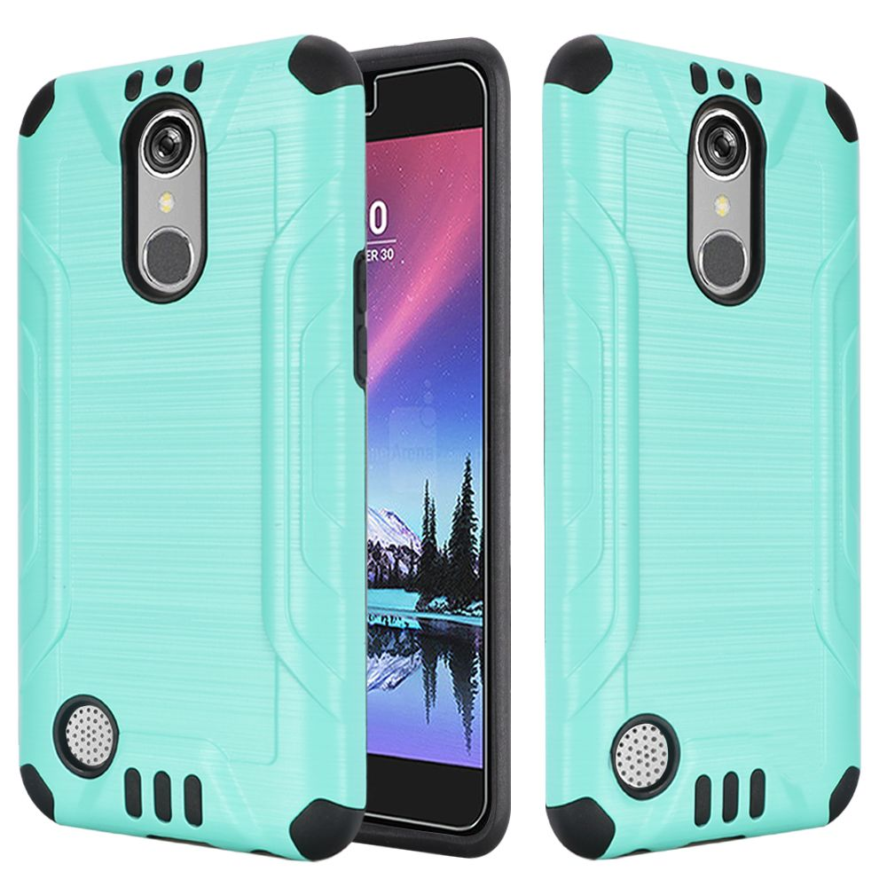 LG K20 Plus/ LG K20 V Case, Slim Armor Brushed Metal Design Hybrid Hard Case on TPU [Mint/ Black] with Travel Wallet Phone Stand