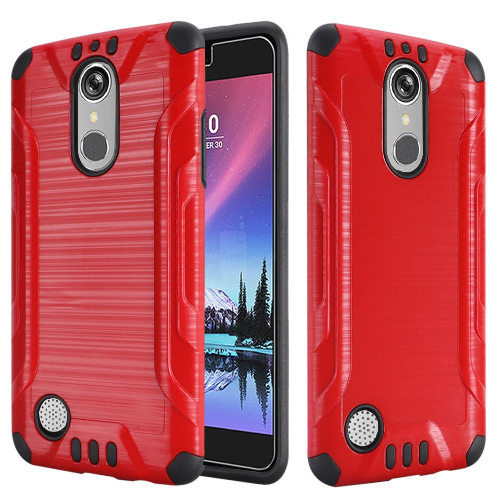 LG K20 Plus/ LG K20 V Case, Slim Armor Brushed Metal Design Hybrid Hard Case on TPU [Red/ Black] with Travel Wallet Phone Stand