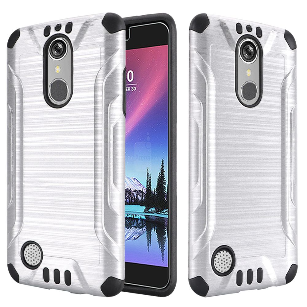 LG K20 Plus/ LG K20 V Case, Slim Armor Brushed Metal Design Hybrid Hard Case on TPU [Silver/ Black] with Travel Wallet Phone Stand