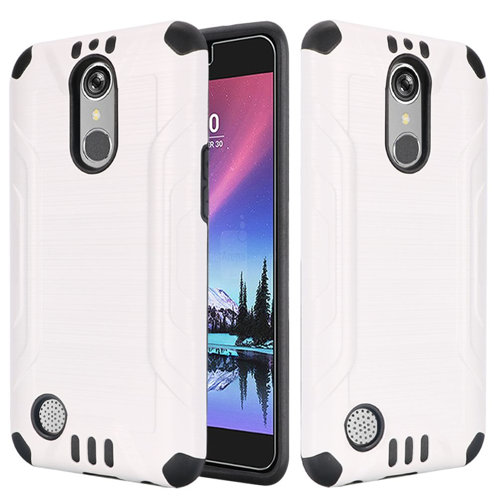 LG K20 Plus/ LG K20 V Case, Slim Armor Brushed Metal Design Hybrid Hard Case on TPU [White/ Black] with Travel Wallet Phone Stand