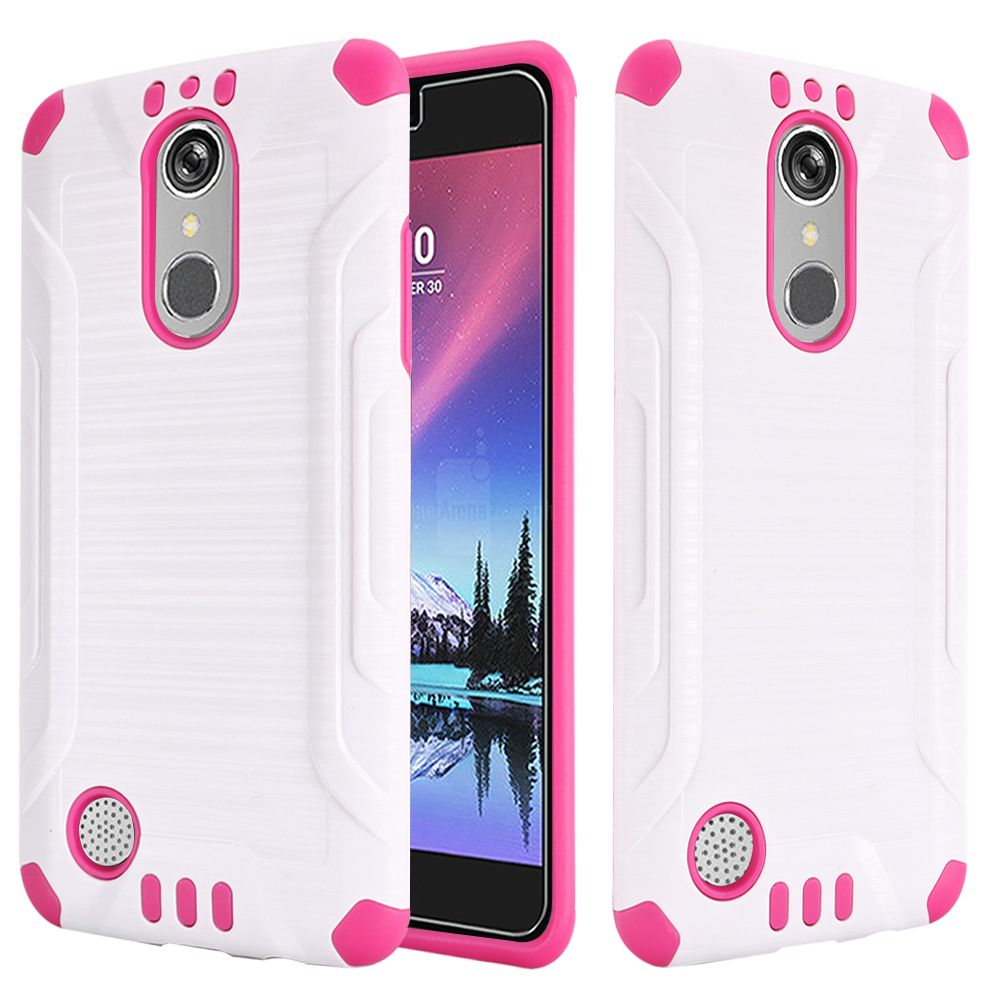 LG K20 Plus/ LG K20 V Case, Slim Armor Brushed Metal Design Hybrid Hard Case on TPU [White/ Hot Pink] with Travel Wallet Phone Stand
