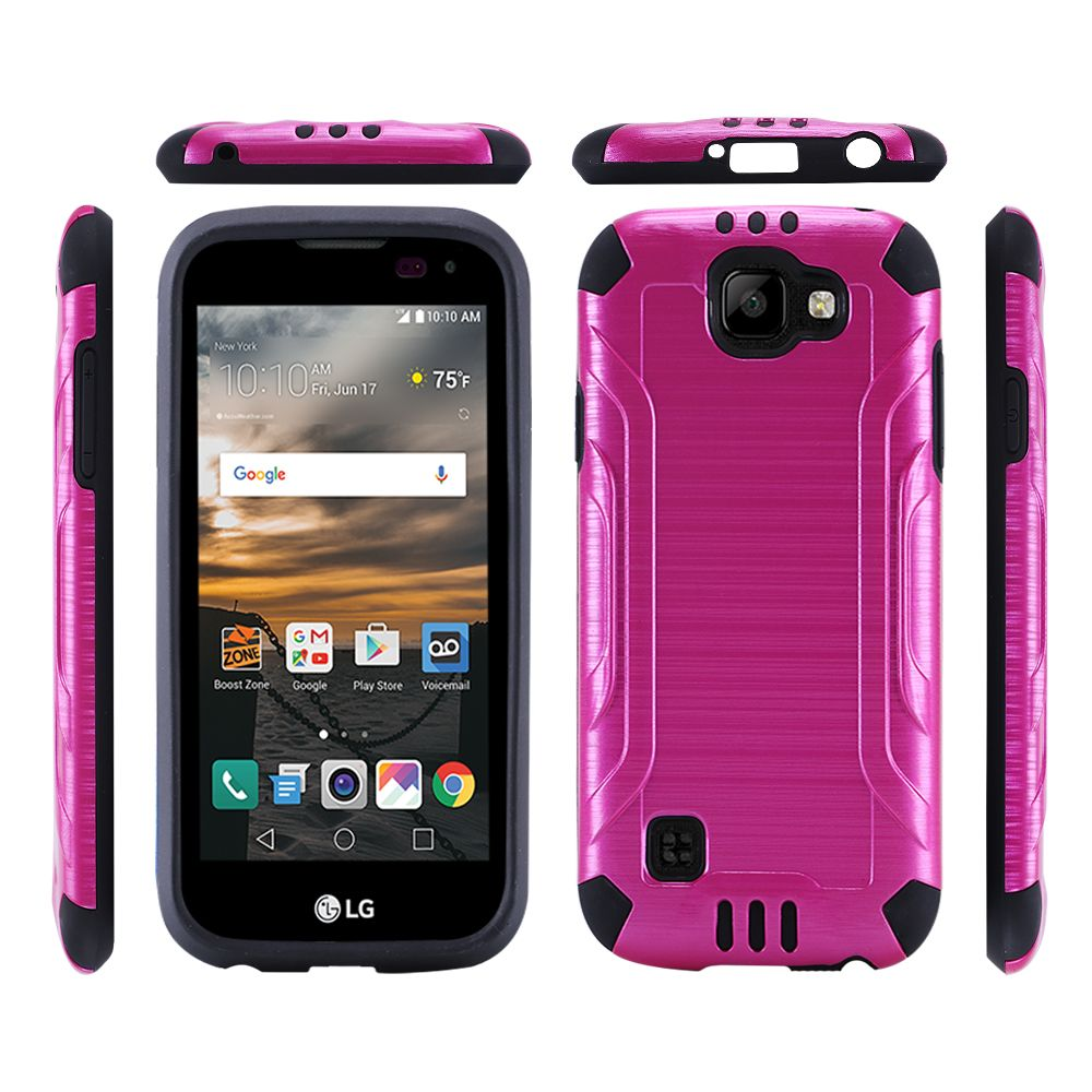 LG K3 Case, Slim Armor Brushed Metal Design Hybrid Hard Case on TPU [Hot Pink/ Black]