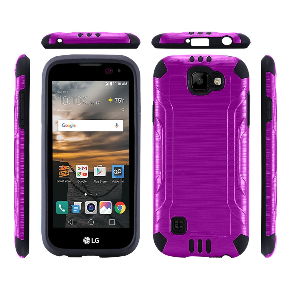LG K3 Case, Slim Armor Brushed Metal Design Hybrid Hard Case on TPU [Purple/ Black]