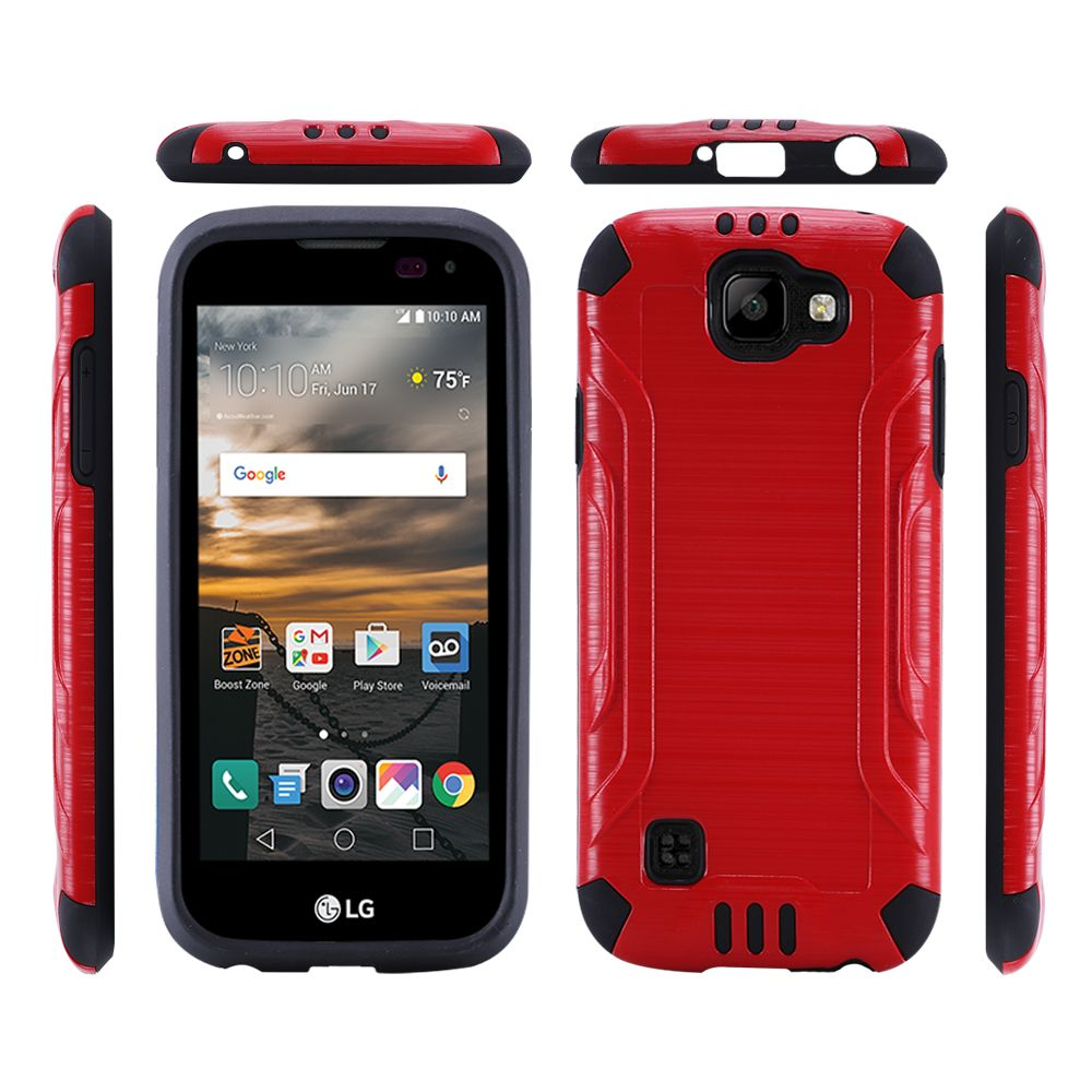 LG K3 Case, Slim Armor Brushed Metal Design Hybrid Hard Case on TPU [Red/ Black]