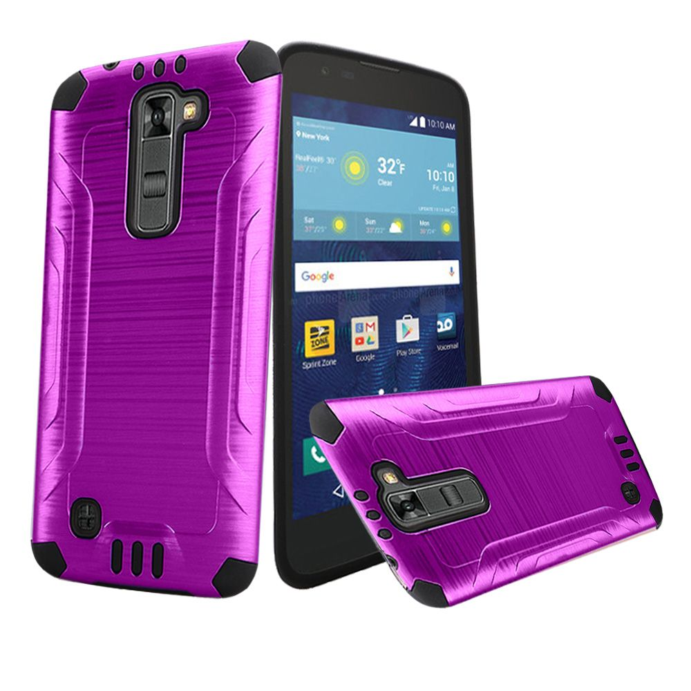 LG K7/ LG Tribute 5 Case, Slim Armor Brushed Metal Design Hybrid Hard Case on TPU [Purple/ Black]