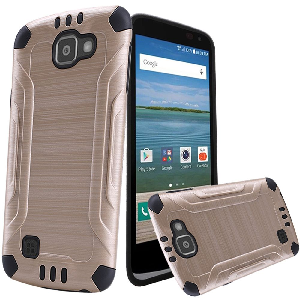 LG Optimus Zone 3 Case, Slim Armor Brushed Metal Design Hybrid Hard Case on TPU [Gold/ Black]