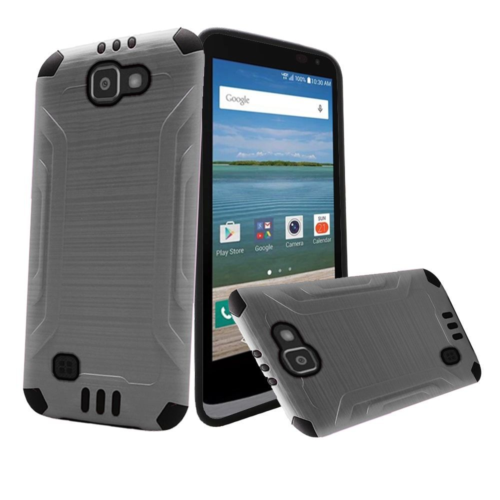 LG Optimus Zone 3 Case, Slim Armor Brushed Metal Design Hybrid Hard Case on TPU [Silver/ Black]