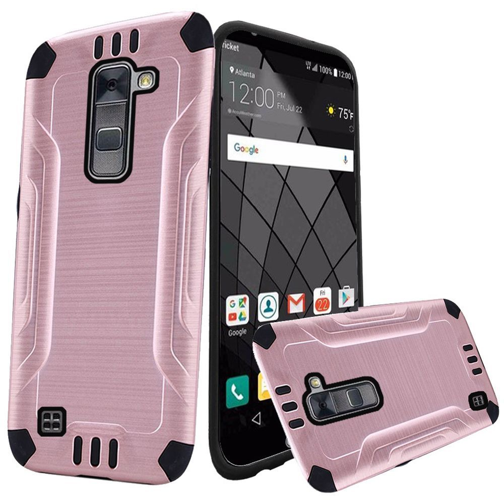 LG Stylo 2 Plus Case, Slim Armor Brushed Metal Design Hybrid Hard Case on TPU [Rose Gold/ Black]