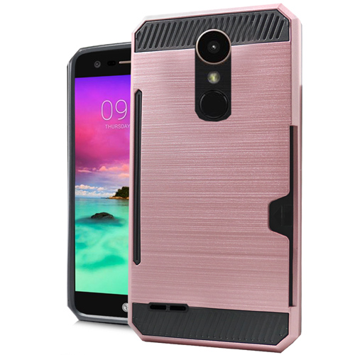 LG Stylo 3/ 3 Plus Case, Slim Brushed Metal Hybrid Hard Case on TPU w/ Card Slot [Black/ Rose Gold] with Travel Wallet Phone Stand
