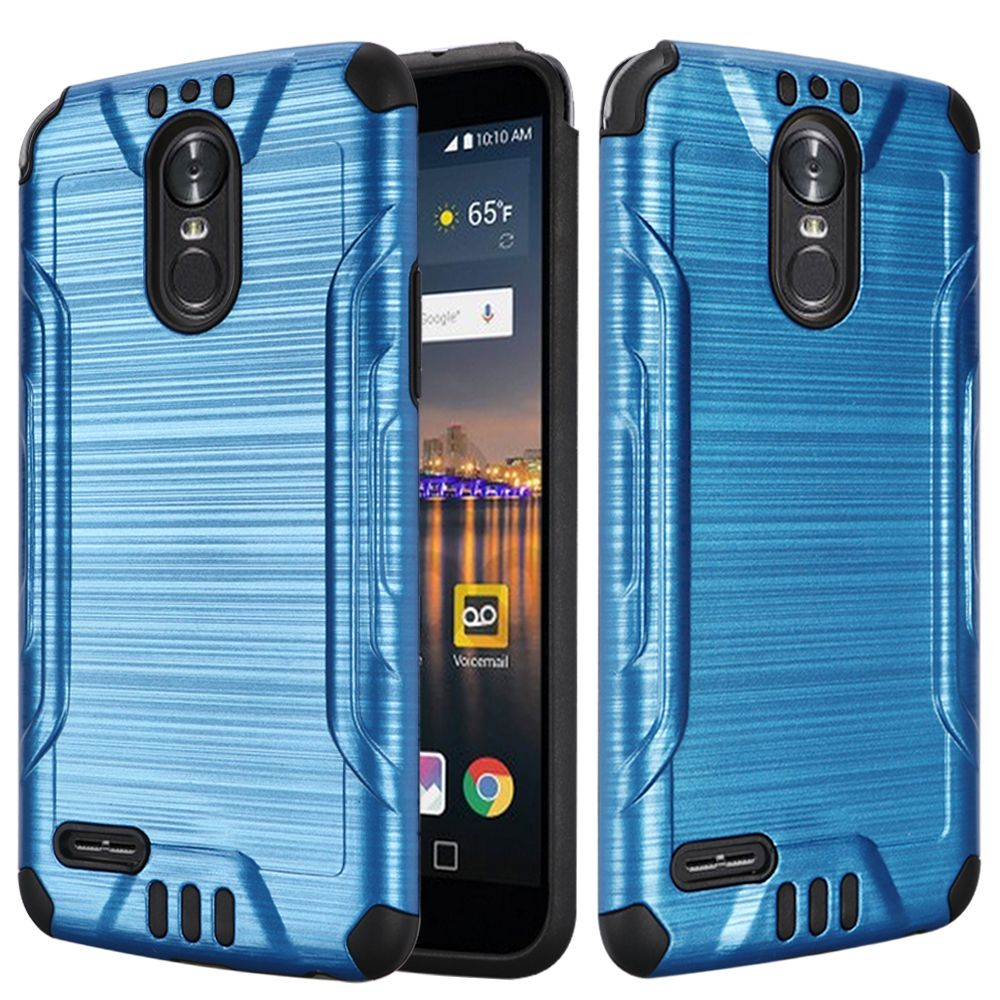 LG Stylo 3/ Stylo 3 Plus Hybrid Case, Slim Armor Brushed Metal Design Hybrid Hard Case on TPU [Blue] with Travel Wallet Phone Stand