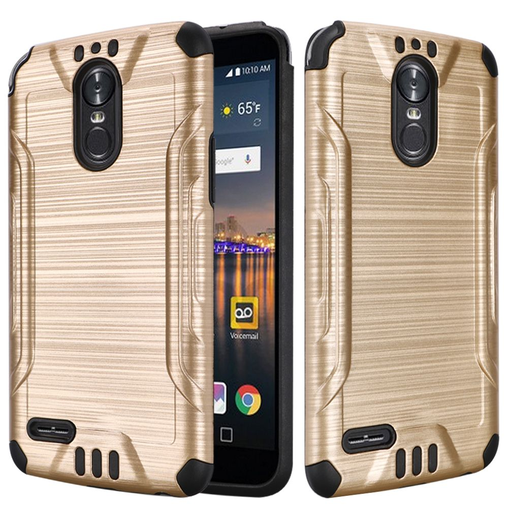 LG Stylo 3/ Stylo 3 Plus Hybrid Case, Slim Armor Brushed Metal Design Hybrid Hard Case on TPU [Gold] with Travel Wallet Phone Stand