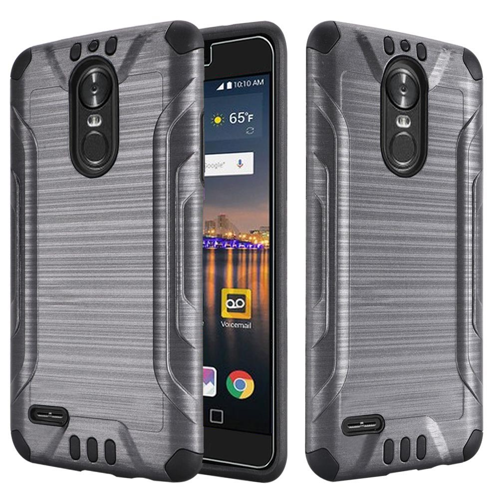 LG Stylo 3/ Stylo 3 Plus Hybrid Case, Slim Armor Brushed Metal Design Hybrid Hard Case on TPU [Gray] with Travel Wallet Phone Stand