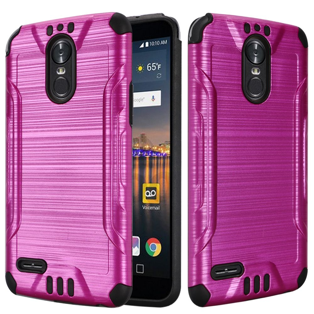 LG Stylo 3/ Stylo 3 Plus Hybrid Case, Slim Armor Brushed Metal Design Hybrid Hard Case on TPU [Hot Pink] with Travel Wallet Phone Stand