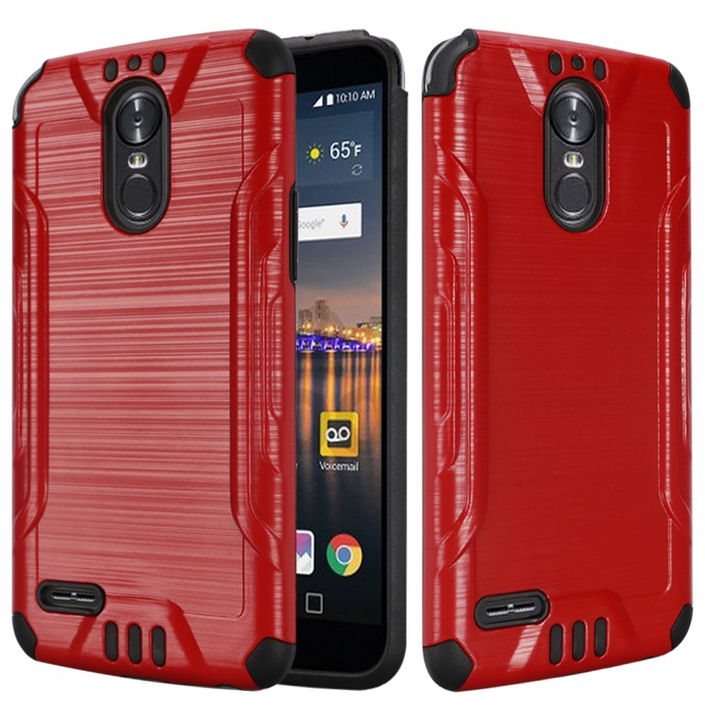 LG Stylo 3/ Stylo 3 Plus Hybrid Case, Slim Armor Brushed Metal Design Hybrid Hard Case on TPU [Red] with Travel Wallet Phone Stand