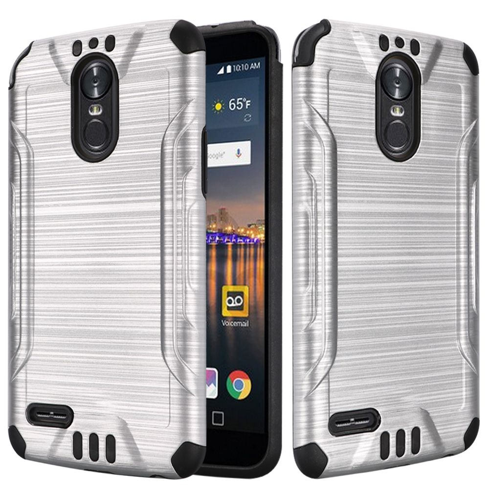 LG Stylo 3/ Stylo 3 Plus Hybrid Case, Slim Armor Brushed Metal Design Hybrid Hard Case on TPU [Silver]
