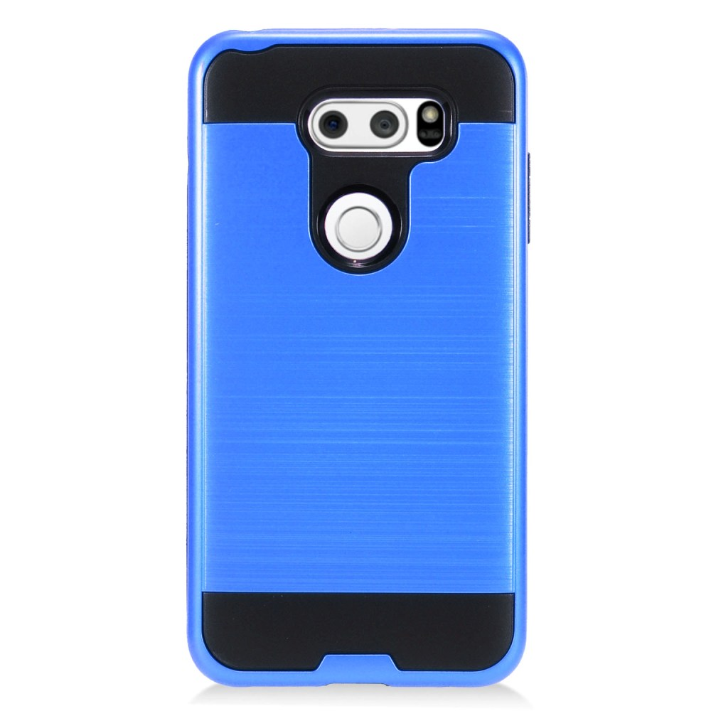 LG V30 Hybrid Case, [Blue/ Black] Slim Armor Brushed Metal Design Hybrid Hard Case on TPU Case