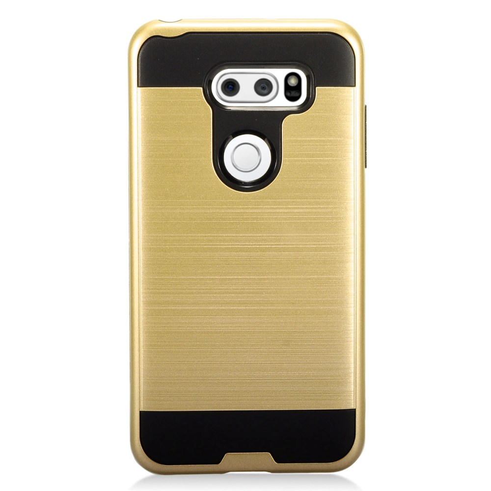 LG V30 Hybrid Case, [Gold/ Black] Slim Armor Brushed Metal Design Hybrid Hard Case on TPU Case