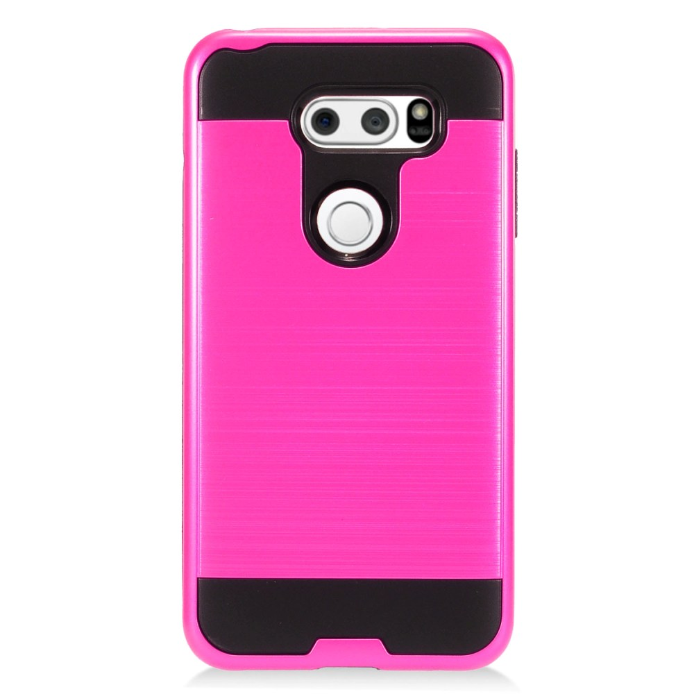 LG V30 Hybrid Case, [Hot Pink/ Black] Slim Armor Brushed Metal Design Hybrid Hard Case on TPU Case