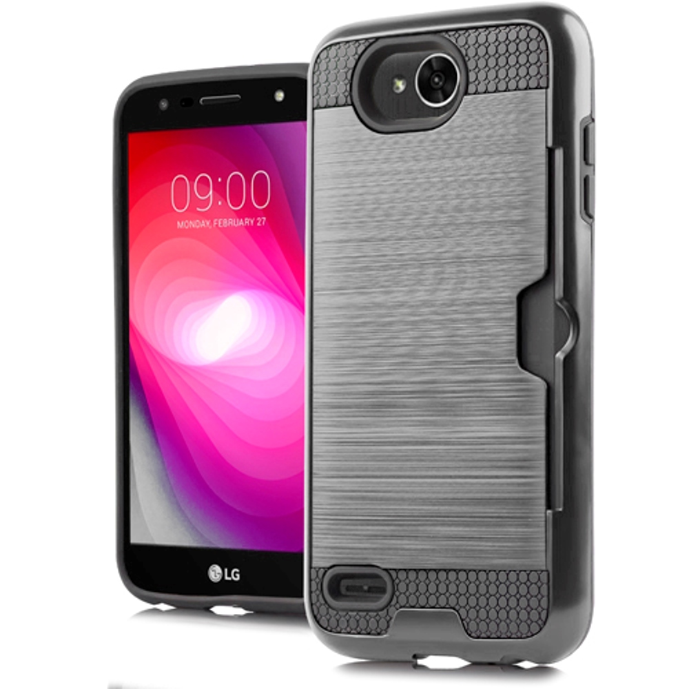 LG X Power 2/ X Charge Card Case, [Silver/ Black] Metallic Case Slim Brushed Metal Hybrid Hard Case on TPU w/ Card Slot
