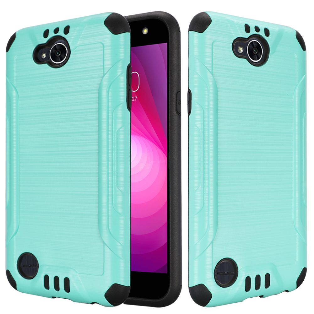 LG X Power 2/ X Charge Hybrid Case, Slim Armor Brushed Metal Design Hybrid Hard Case on TPU [Mint] with Travel Wallet Phone Stand