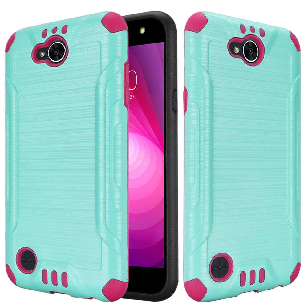 LG X Power 2/ X Charge Hybrid Case, Slim Armor Brushed Metal Design Hybrid Hard Case on TPU [Mint/ Hot Pink] with Travel Wallet Phone Stand