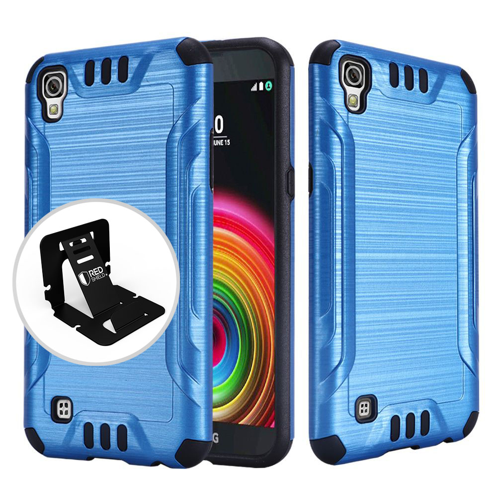 LG X Power Case, Slim Armor Brushed Metal Design Hybrid Hard Case on TPU [Blue/ Black]  with Travel Wallet Phone Stand