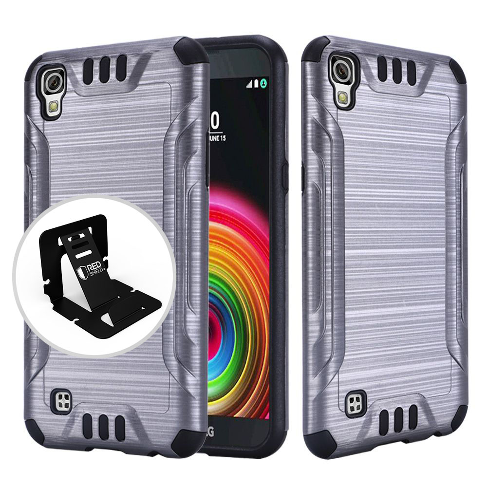 LG X Power Case, Slim Armor Brushed Metal Design Hybrid Hard Case on TPU [Gray/ Black]  with Travel Wallet Phone Stand