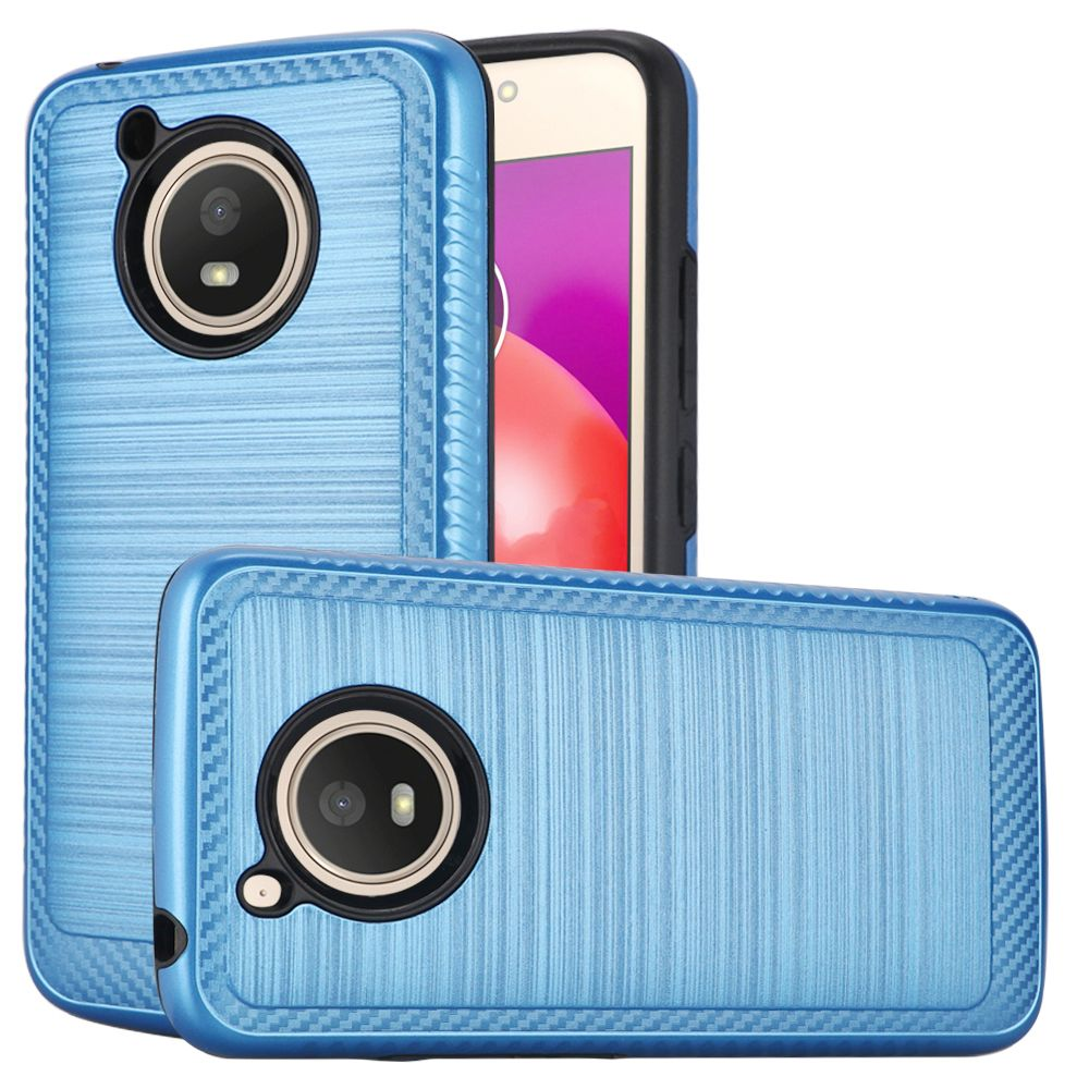 Motorola Moto E4 PLUS Hybrid Case, [Blue] Slim Armor Brushed Metal Design Hard Case on TPU