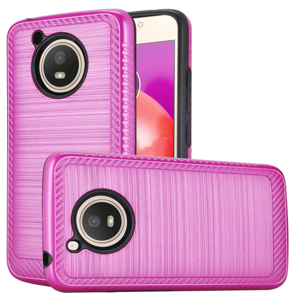 Motorola Moto E4 PLUS Hybrid Case, [Hot Pink] Slim Armor Brushed Metal Design Hard Case on TPU
