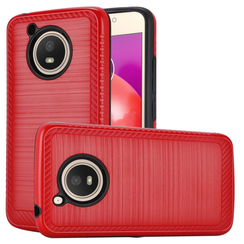 Motorola Moto E4 PLUS Hybrid Case, [Red] Slim Armor Brushed Metal Design Hard Case on TPU