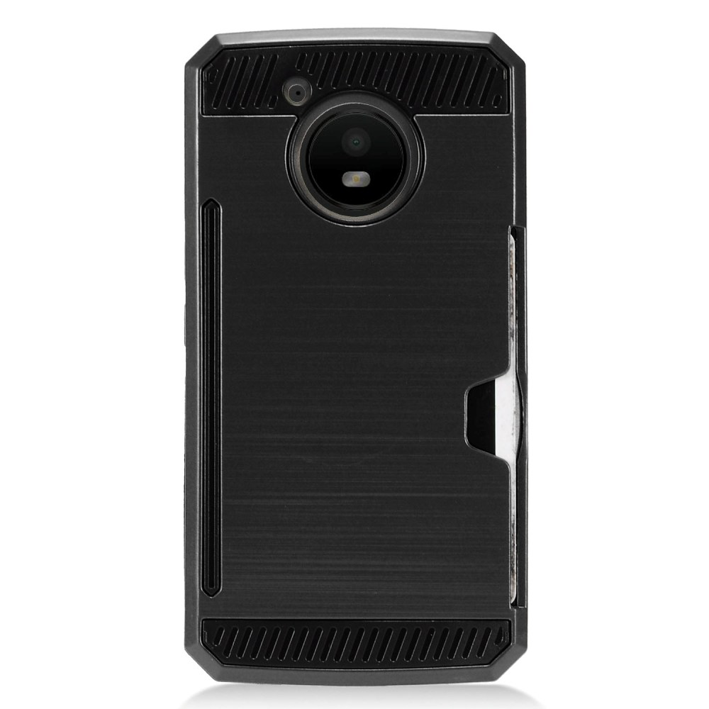 [REDshield] Motorola Moto E4 Card Case, [Black] Metallic Case Slim Brushed Metal Hybrid Hard Case on TPU w/ Card Slot