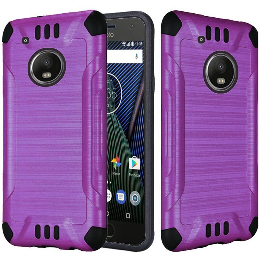 Motrola Moto G5 Plus Shockproof Case, Slim Armor Brushed Metal Design Hybrid Hard Case on TPU [Purple] with Travel Wallet Phone Stand