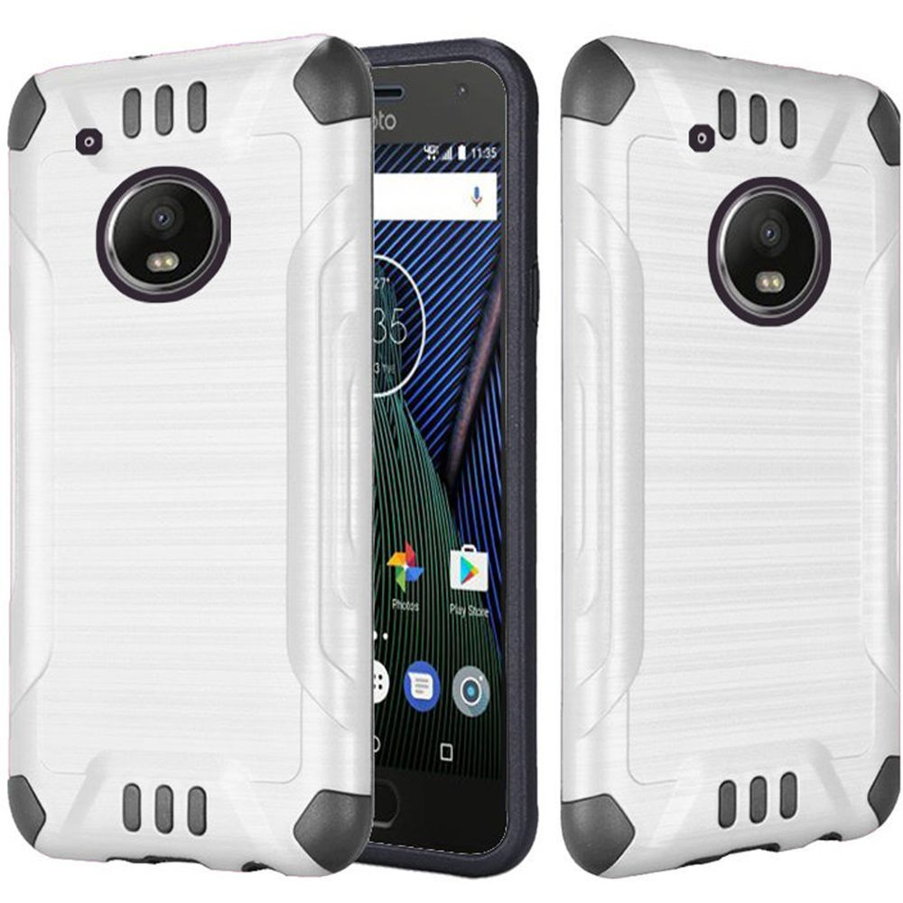 Motrola Moto G5 Plus Shockproof Case, Slim Armor Brushed Metal Design Hybrid Hard Case on TPU [White] with Travel Wallet Phone Stand