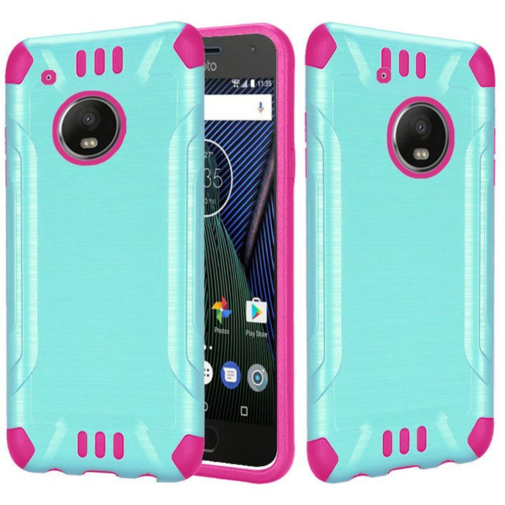 Motrola Moto G5 Plus Shockproof Case, Slim Armor Brushed Metal Design Hybrid Hard Case on TPU [Mint/ Hot Pink] with Travel Wallet Phone Stand