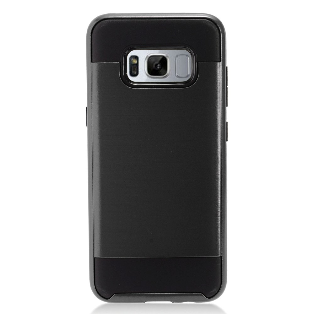 Samsung Galaxy S8 Plus Metallic Case Slim Armor Brushed Metal Design Hybrid Hard Case on TPU [Black] with Travel Wallet Phone Stand