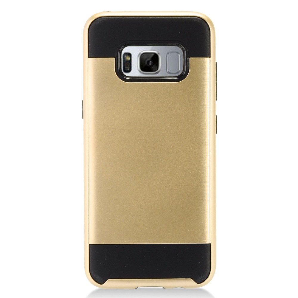 Samsung Galaxy S8 Plus Metallic Case Slim Armor Brushed Metal Design Hybrid Hard Case on TPU [Gold/ Black] with Travel Wallet Phone Stand