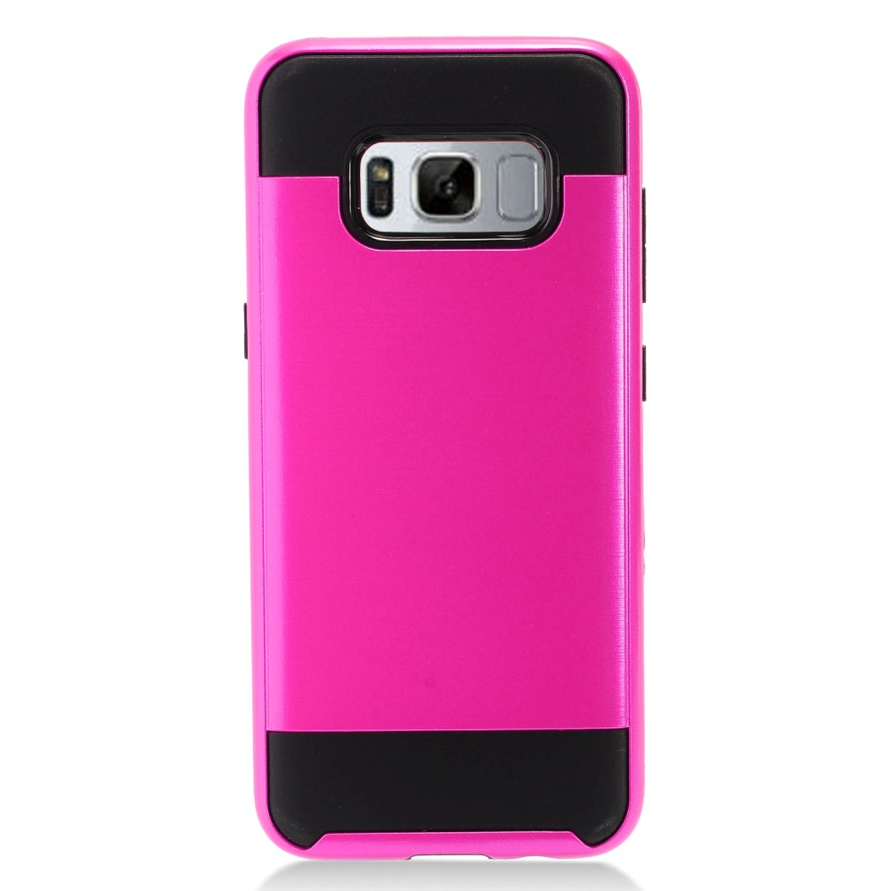 Samsung Galaxy S8 Plus Metallic Case Slim Armor Brushed Metal Design Hybrid Hard Case on TPU [Hot Pink/ Black] with Travel Wallet Phone Stand