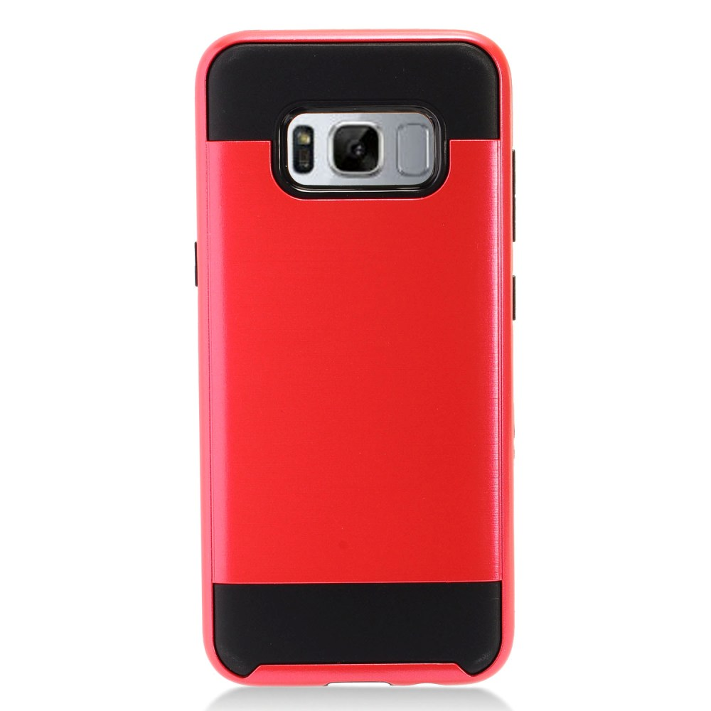 Samsung Galaxy S8 Plus Metallic Case Slim Armor Brushed Metal Design Hybrid Hard Case on TPU [Red/ Black] with Travel Wallet Phone Stand