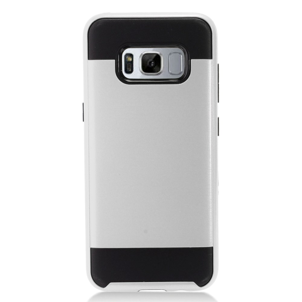 Samsung Galaxy S8 Plus Metallic Case Slim Armor Brushed Metal Design Hybrid Hard Case on TPU [Silver/ Black] with Travel Wallet Phone Stand