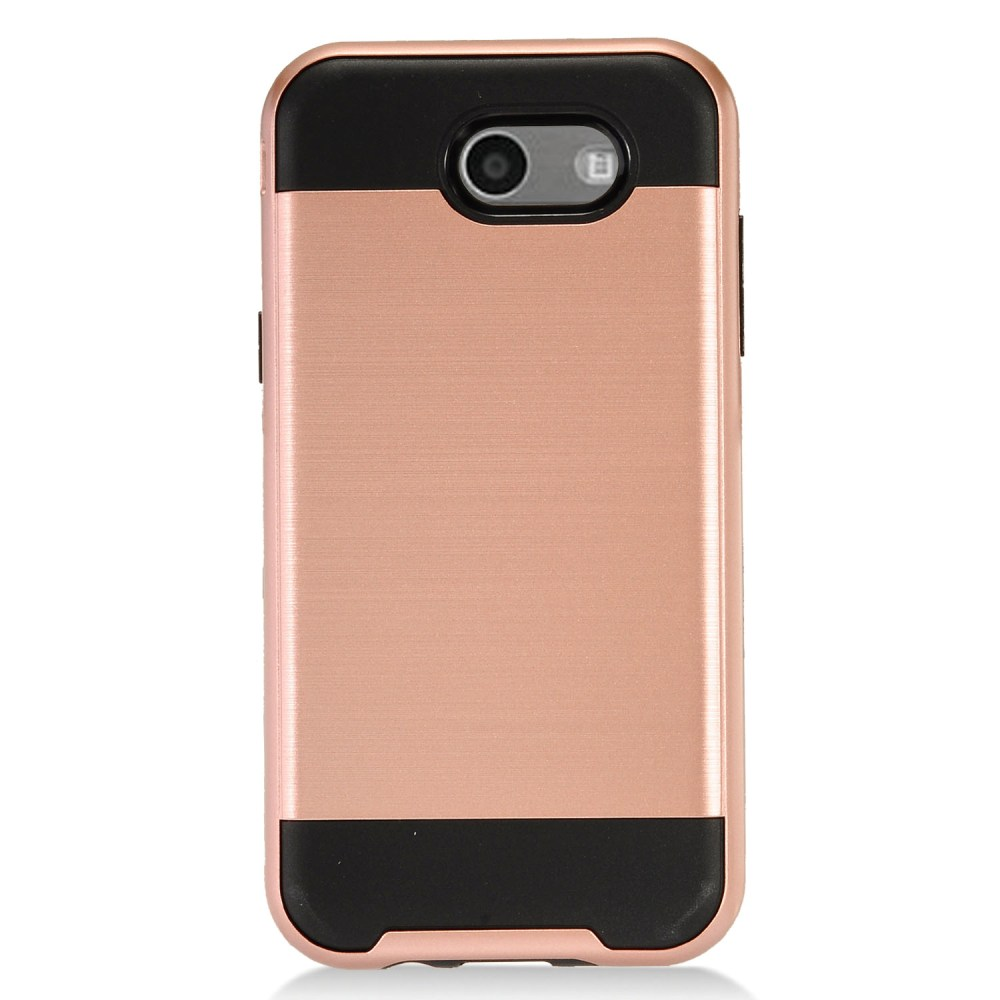 Samsung Galaxy J3 Emerge Case, Brushed Metal Hybrid Hard Case on TPU [Rose Gold/ Black] with Travel Wallet Phone Stand