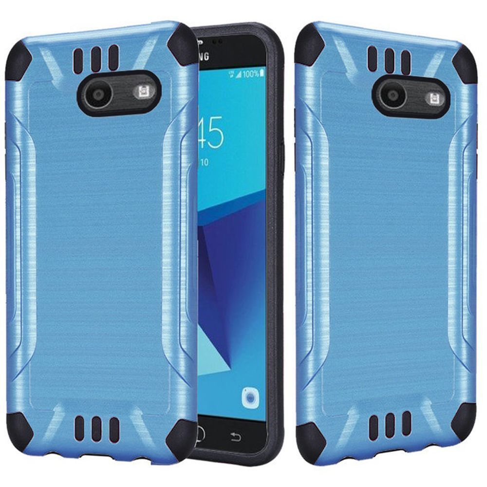 Samsung Galaxy J7 [2017]/ Galaxy J7 Perx/ J7 V/ Galaxy Halo Shockproof Case, Slim Armor Brushed Metal Design Hybrid Hard Case on TPU [Blue] with Travel Wallet Phone Stand